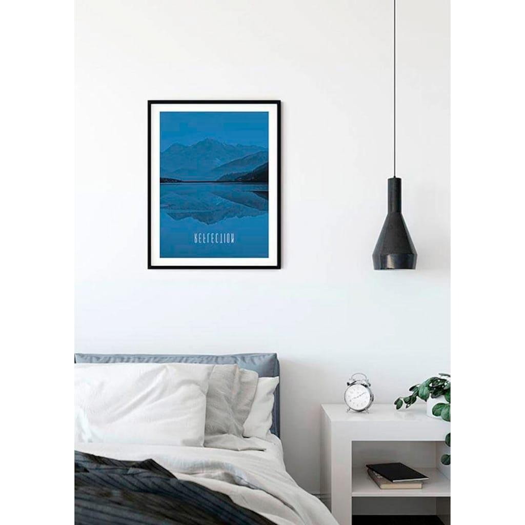 Komar Poster »Word Lake Reflection Blue«, Natur, Höhe: 70cm