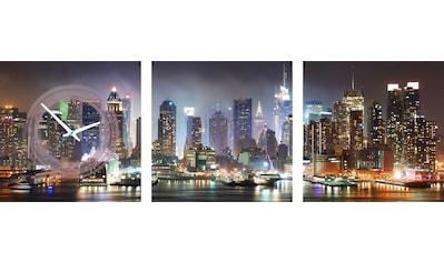 Conni Oberkircher´s Bild »Time Square by Night«, New York, (Set), mit dekorativer Uhr kaufen