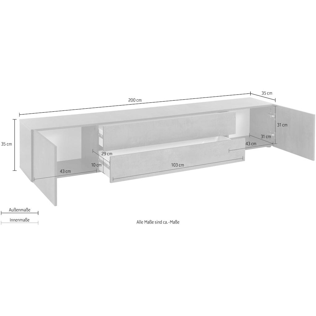 borchardt Möbel Lowboard »Sophia«, Breite 200 cm mit 2 Schubkästen, stehend und hängend