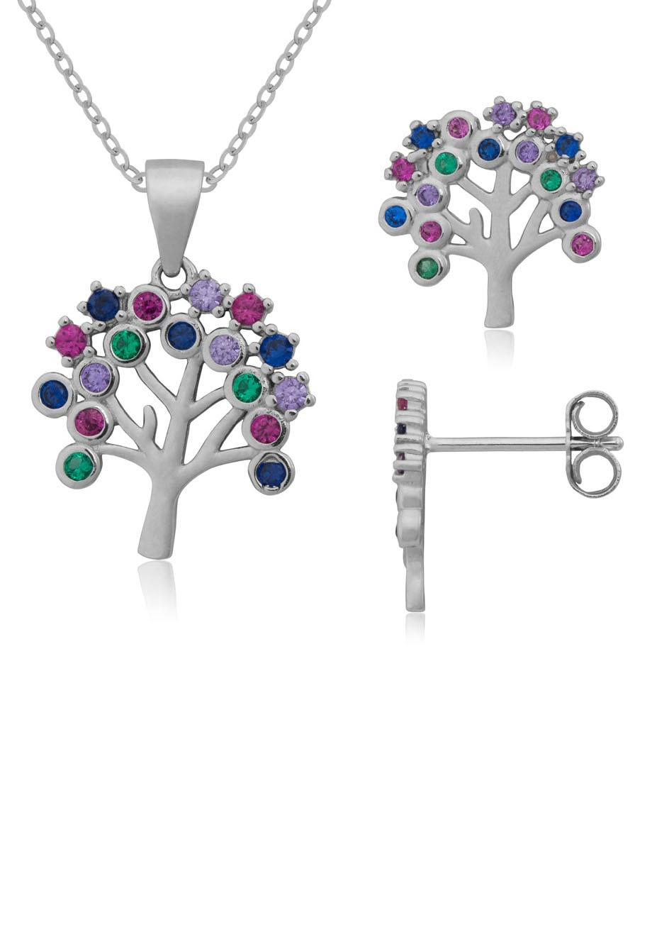Firetti Ohrring und Ketten Set strahlender Baum, massiv und rhodiniert (Set, 4 tlg.)