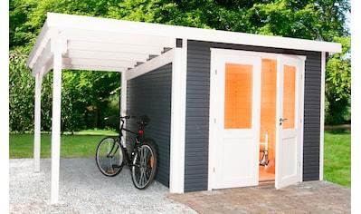 WOLFF FINNHAUS Set: Gartenhaus »Pulti Softline 2424«, BxT: 555x286 cm, inkl. Fußboden und Anbaudach kaufen