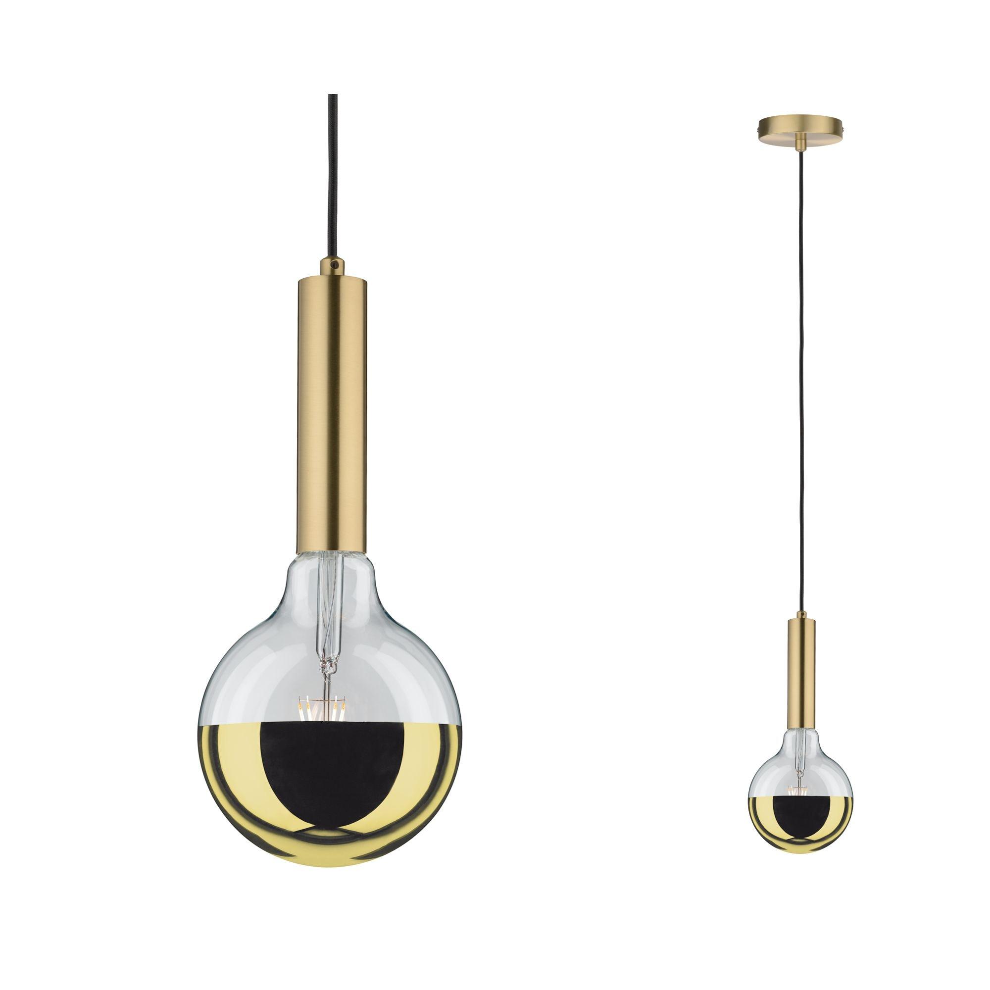 Paulmann LED Pendelleuchte Neordic Kine max1x20W E27 Messing gebürstet 230V Metall, E27, 1 St.