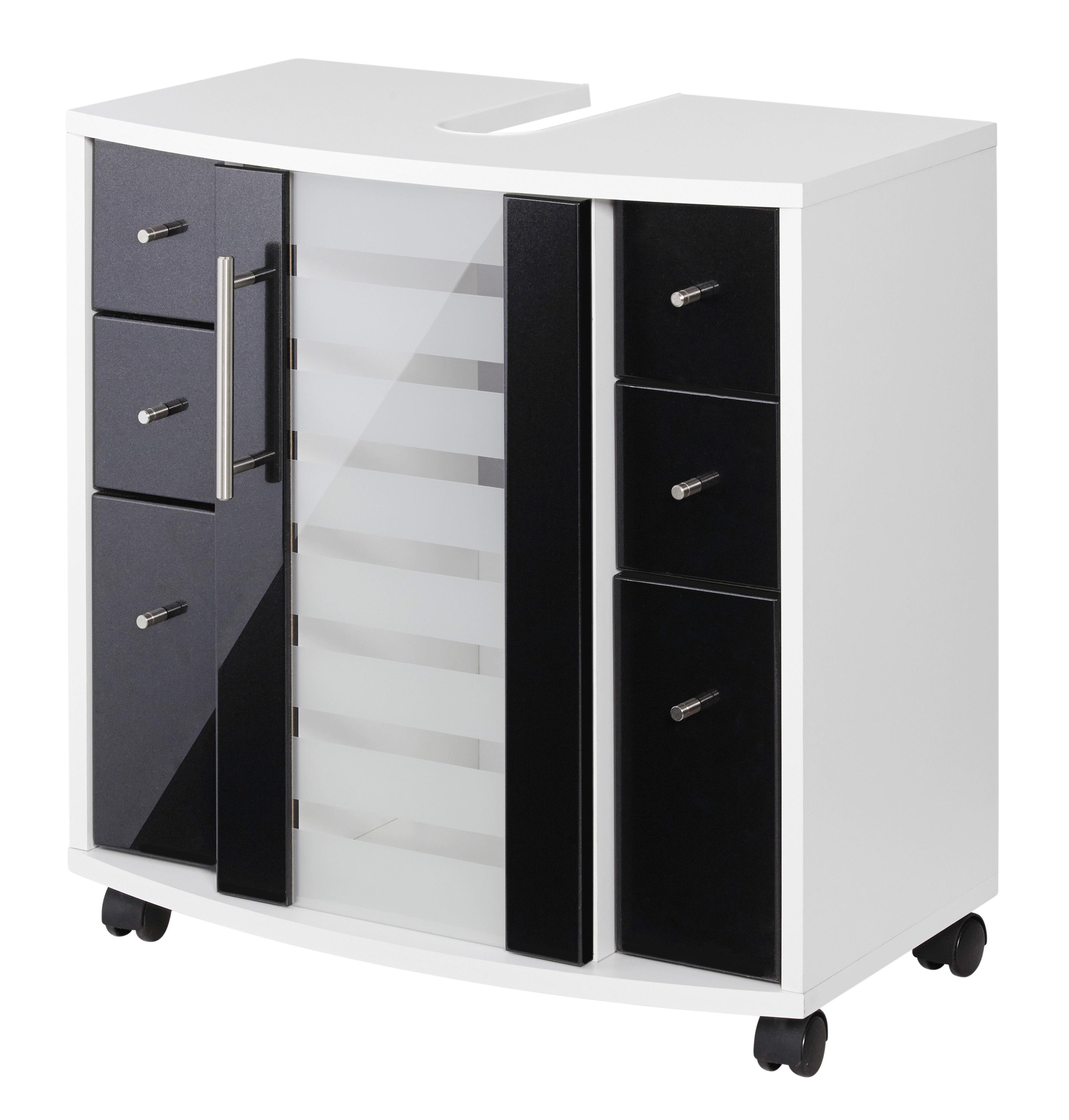 Waschbeckenunterschrank Jaca, Breite 60 cm, mit hochglänzenden Fronten günstig online kaufen