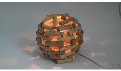 HGD Holz - Glas - Design Tischlampe Kugel aus Holz, elektrisch beleuchtet kaufen