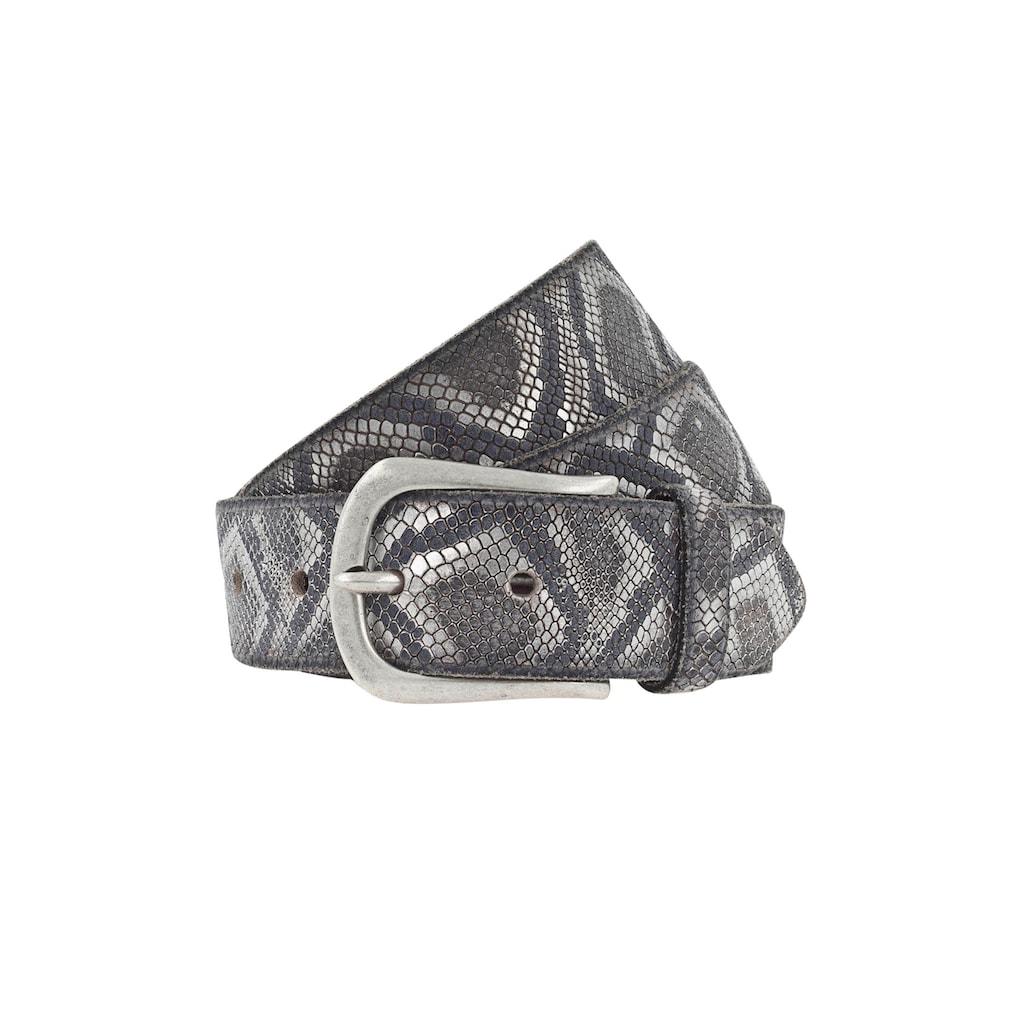 b.belt Ledergürtel, mit Metallic Snakeprägung