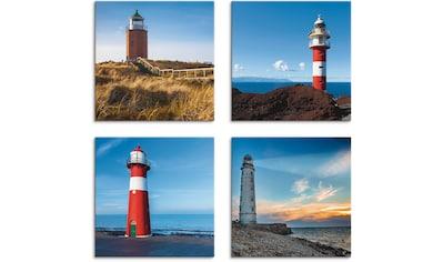Artland Leinwandbild »Leuchtturm am Meer«, Gebäude, (4 St.) kaufen