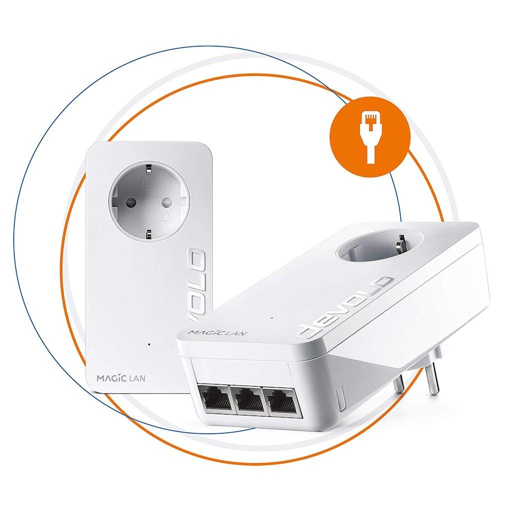 DEVOLO LAN-Router »Magic 2 LAN triple Starterkit«, (2400Mbit,Powerline,4x GbitLAN,Heimnetz)
