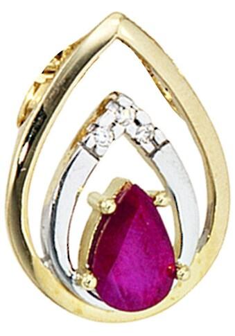 JOBO Kettenanhänger, Tropfen 585 Gold mit 3 Diamanten und Rubin kaufen