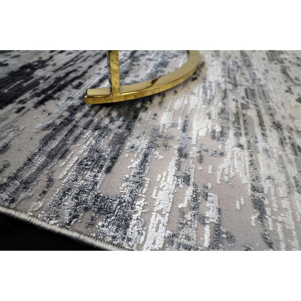 RESITAL The Voice of Carpet Teppich »Lucca 6031«, rechteckig, 5 mm Höhe, leichter Glanzeffekt, mit Fransen, Wohnzimmer