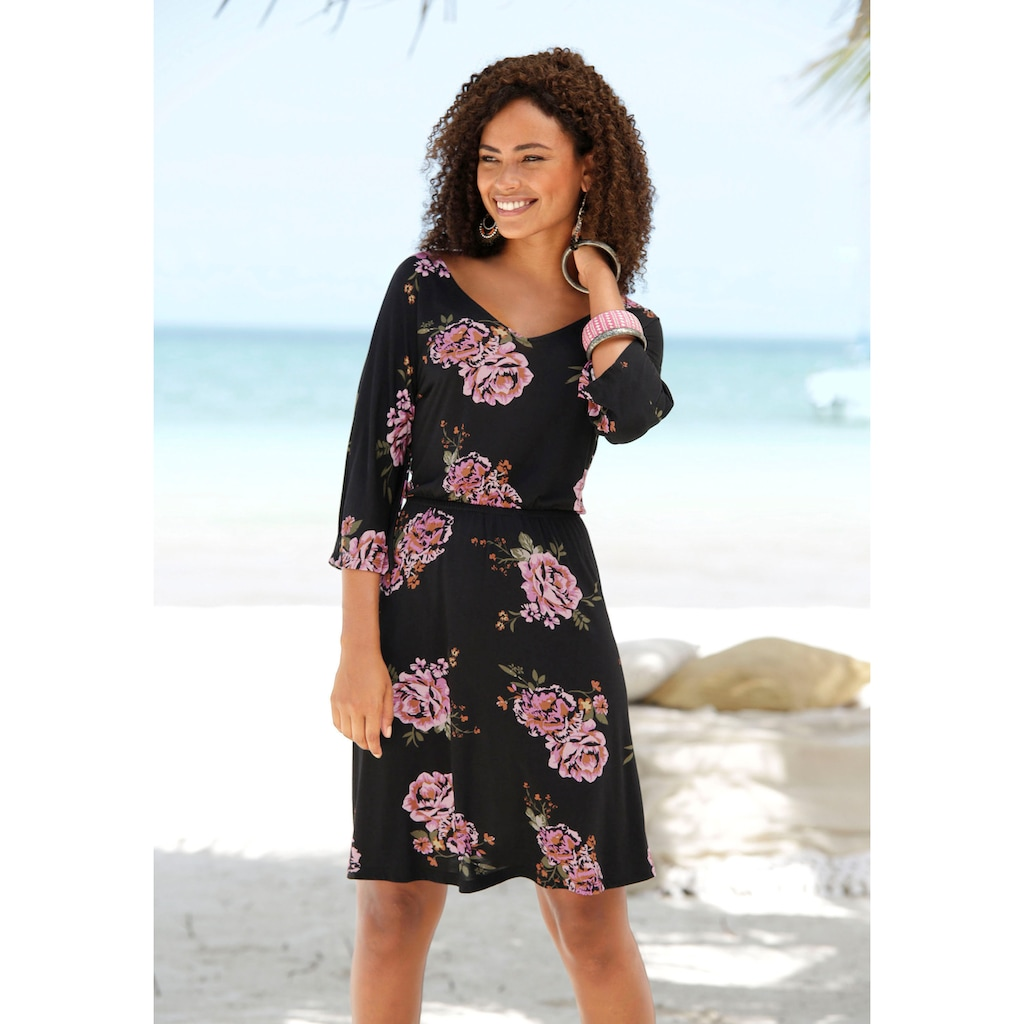s.Oliver Beachwear Jerseykleid, mit Spitzenbändern am Rückenausschnitt