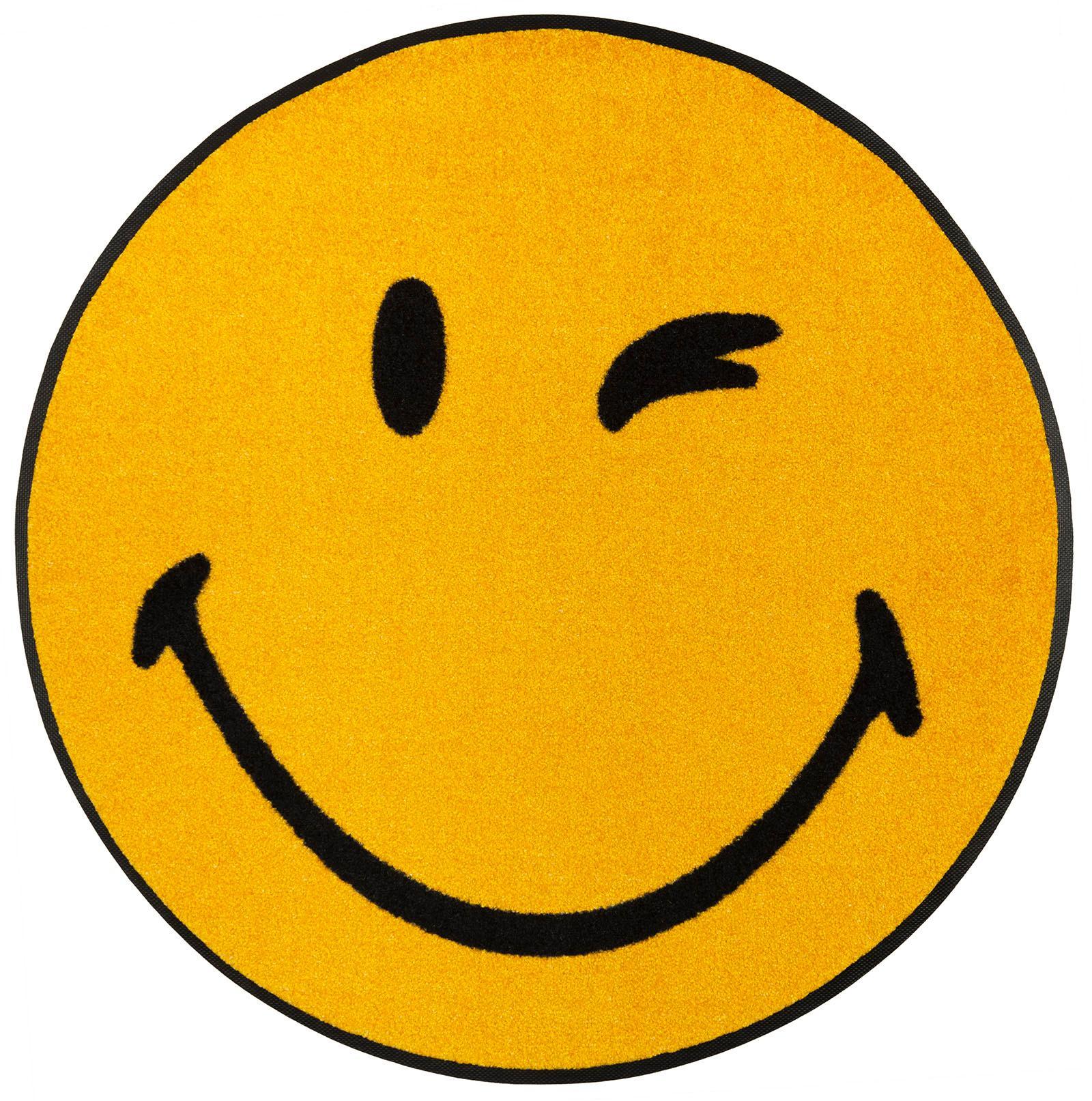Teppich Smiley Winky wash+dry by Kleen-Tex rund Höhe 7 mm gedruckt