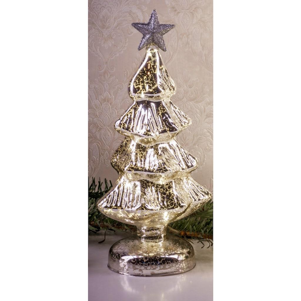 HGD Holz-Glas-Design Beleuchteter Weihnachtsbaum aus Mercury-Glas