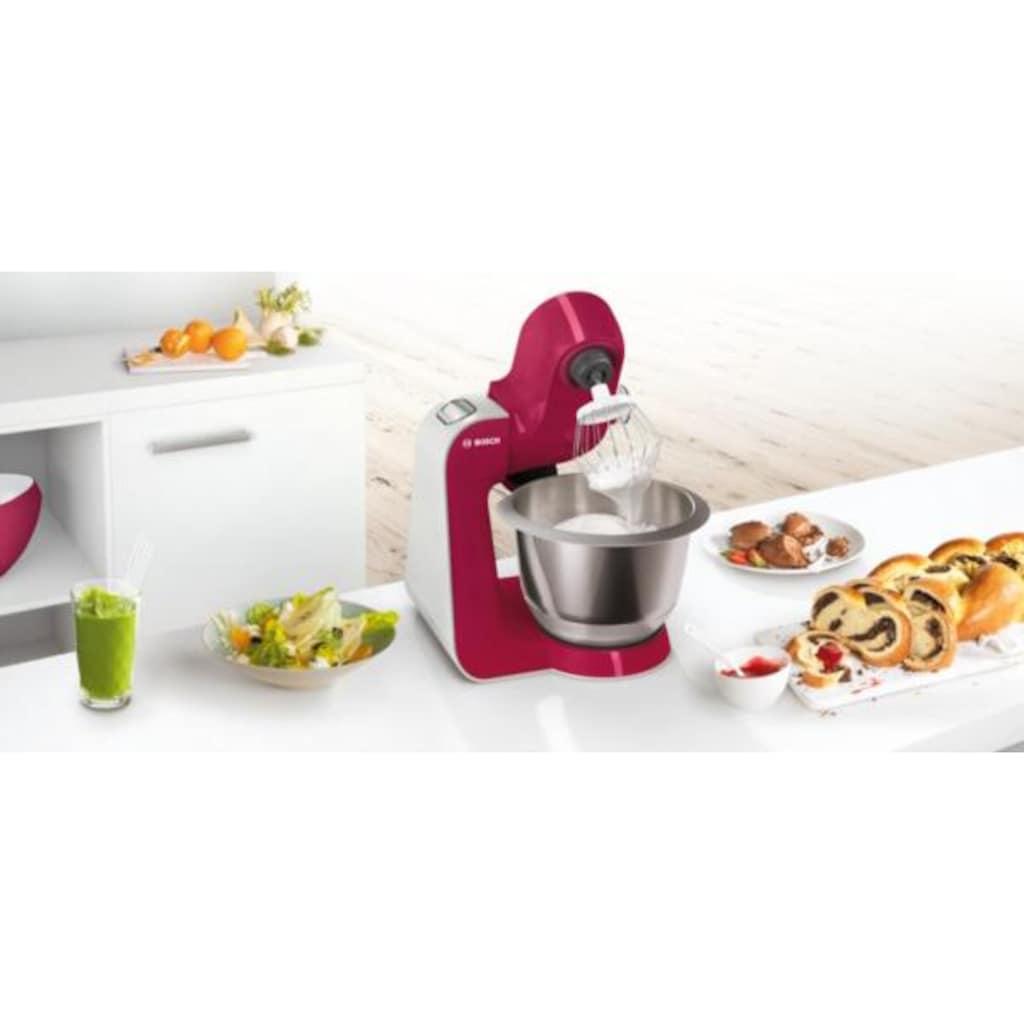 BOSCH Küchenmaschine »MUM5 CreationLine MUM58420«, 1000 W, 3,9 l Schüssel, vielseitig einsetzbar, Mixer, Durchlaufschnitzler, 3 Reibescheiben, red diamond/silber