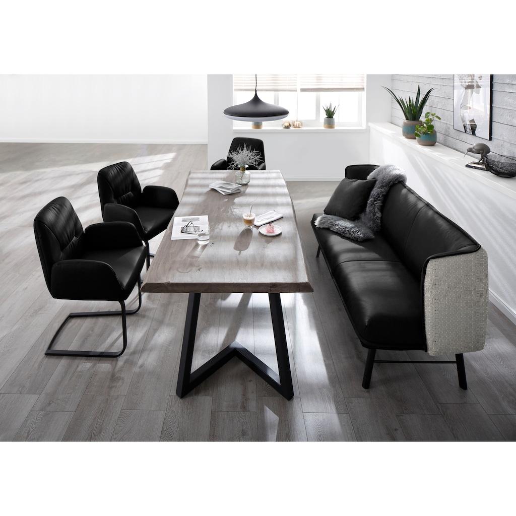W.SCHILLIG Essbank »chloé«, 2-Sitzer Küchensofa mit dekorativer Biese, mit black and white Absetzung im Rücken