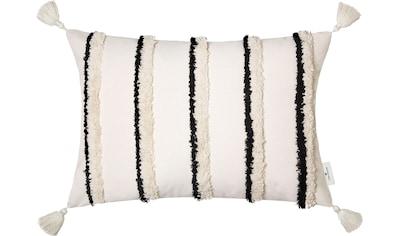 TOM TAILOR Kissenhülle »Fluffy Stripe«, (1 St.), mit aufgesetzten, fluffigen... kaufen