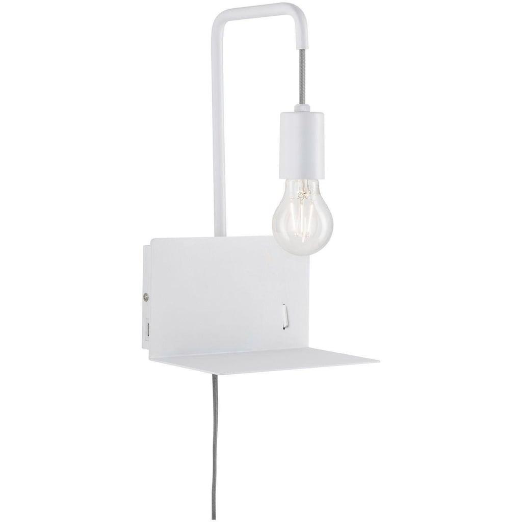 Paulmann,LED Wandleuchte»Calvani mit Ablage max 1x40W E27 Weiß 230V Metall«,