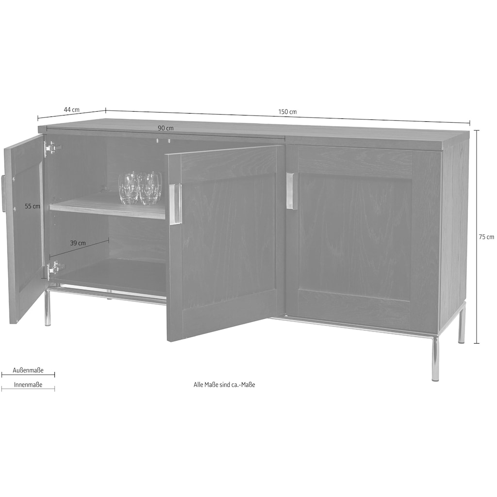 Woodman Sideboard »Parlan«, mit drei Holztüren und Anschlagdämpfern, sowie Soft-Close-Funktion, Breite 150 cm