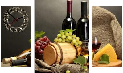 Conni Oberkircher´s Bild »Wine & Cheese«, Wein, (Set), mit dekorativer Uhr kaufen