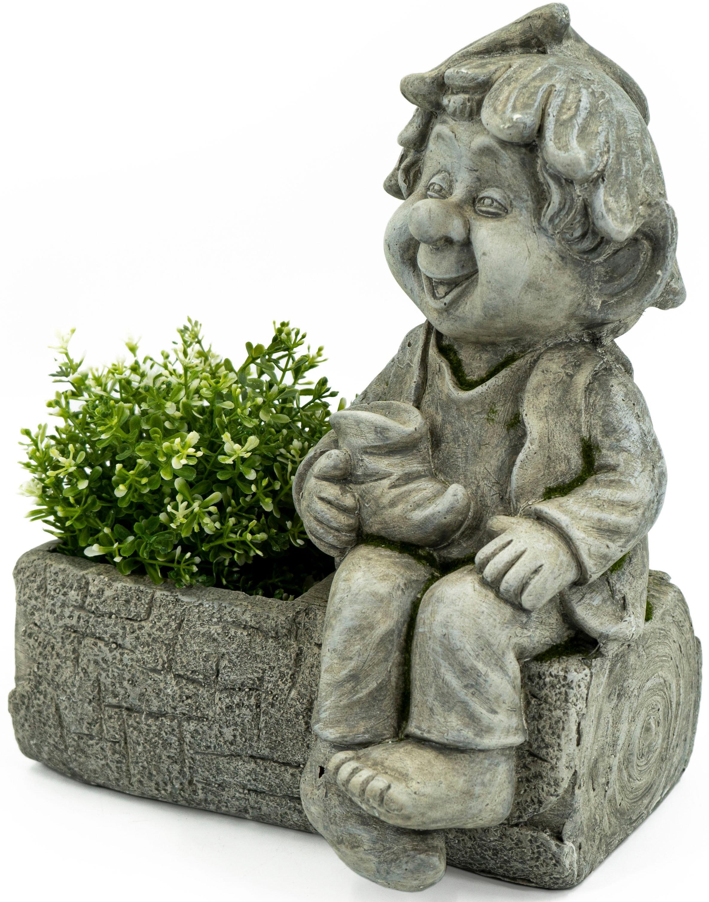 NOOR LIVING Gartenfigur Pflanztopf mit Gnom grau Gartenfiguren Gartendekoration Gartenmöbel Gartendeko