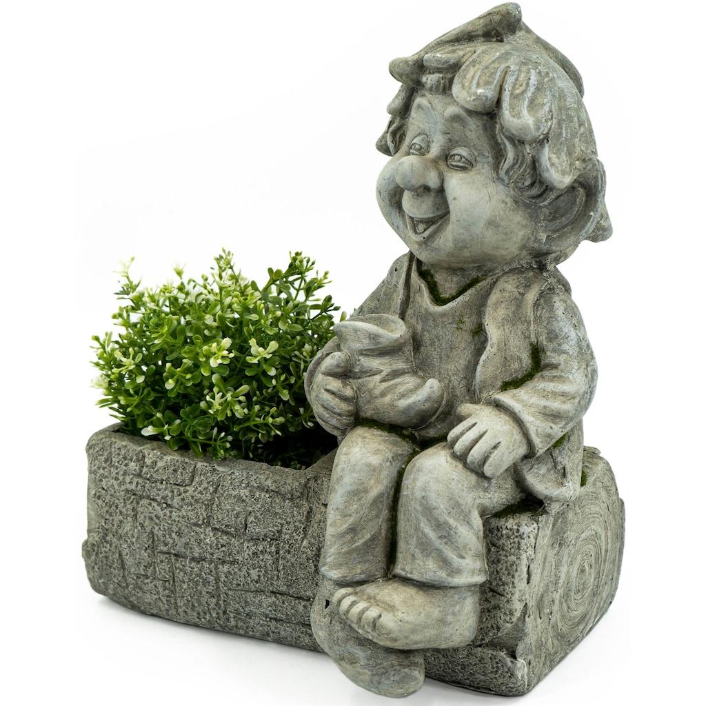 NOOR LIVING Gartenfigur »Pflanztopf mit Gnom«, (1 St.)