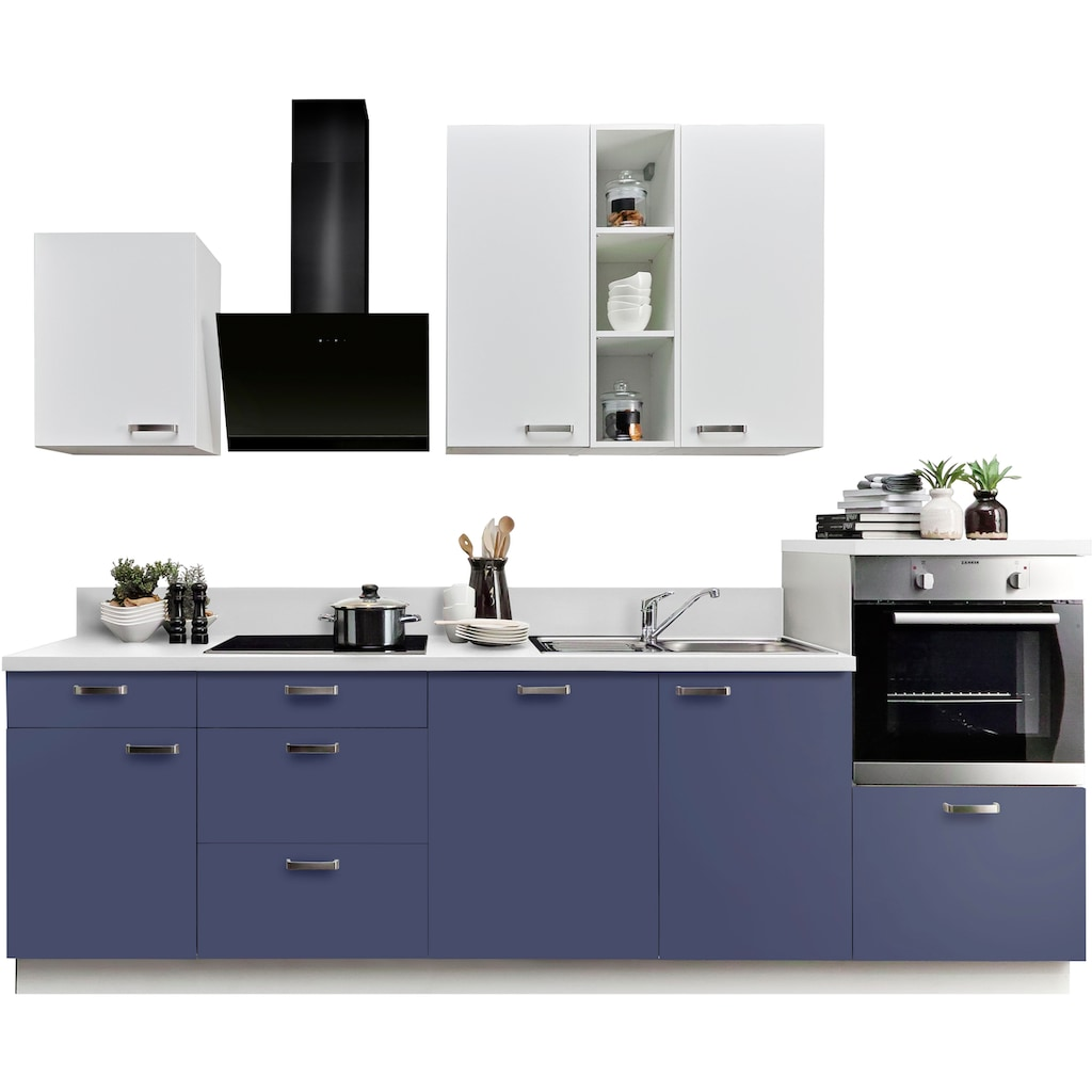 Express Küchen Küchenzeile »Bari«, ohne E-Geräte, mit Soft-Close-Funktion und Vollauszügen, vormontiert, Breite 280 cm