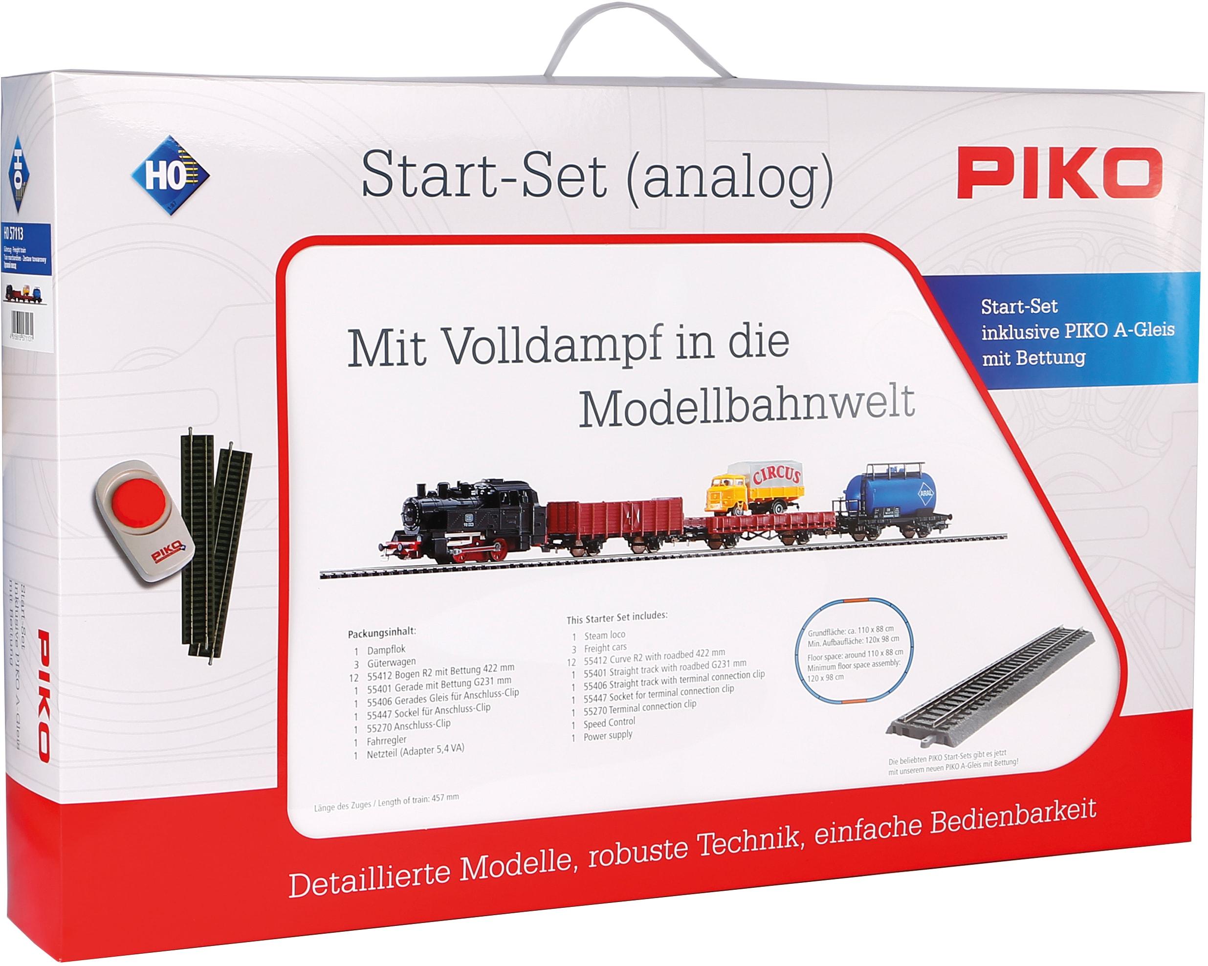 PIKO Modelleisenbahn Startpaket Güterzug mit Bettung, (57113) bunt Kinder Loks Wägen Modelleisenbahnen Autos, Eisenbahn Modellbau