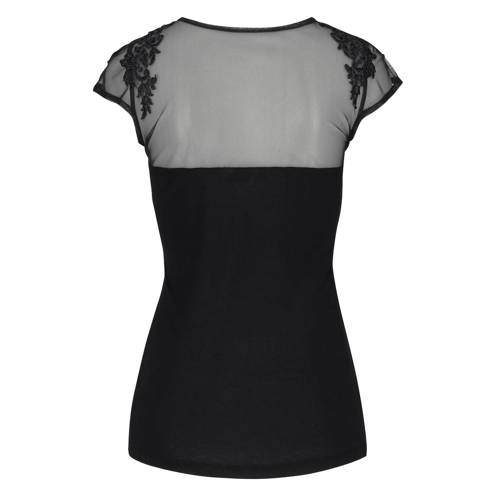 Melrose Rundhalsshirt, mit Spitzen-Applikation