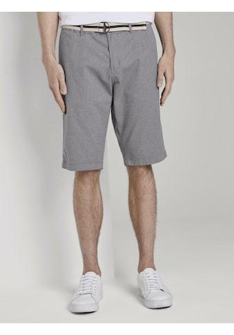 TOM TAILOR Shorts »Gemusterte Josh Regular Slim Bermuda-Shorts mit Gürtel« kaufen