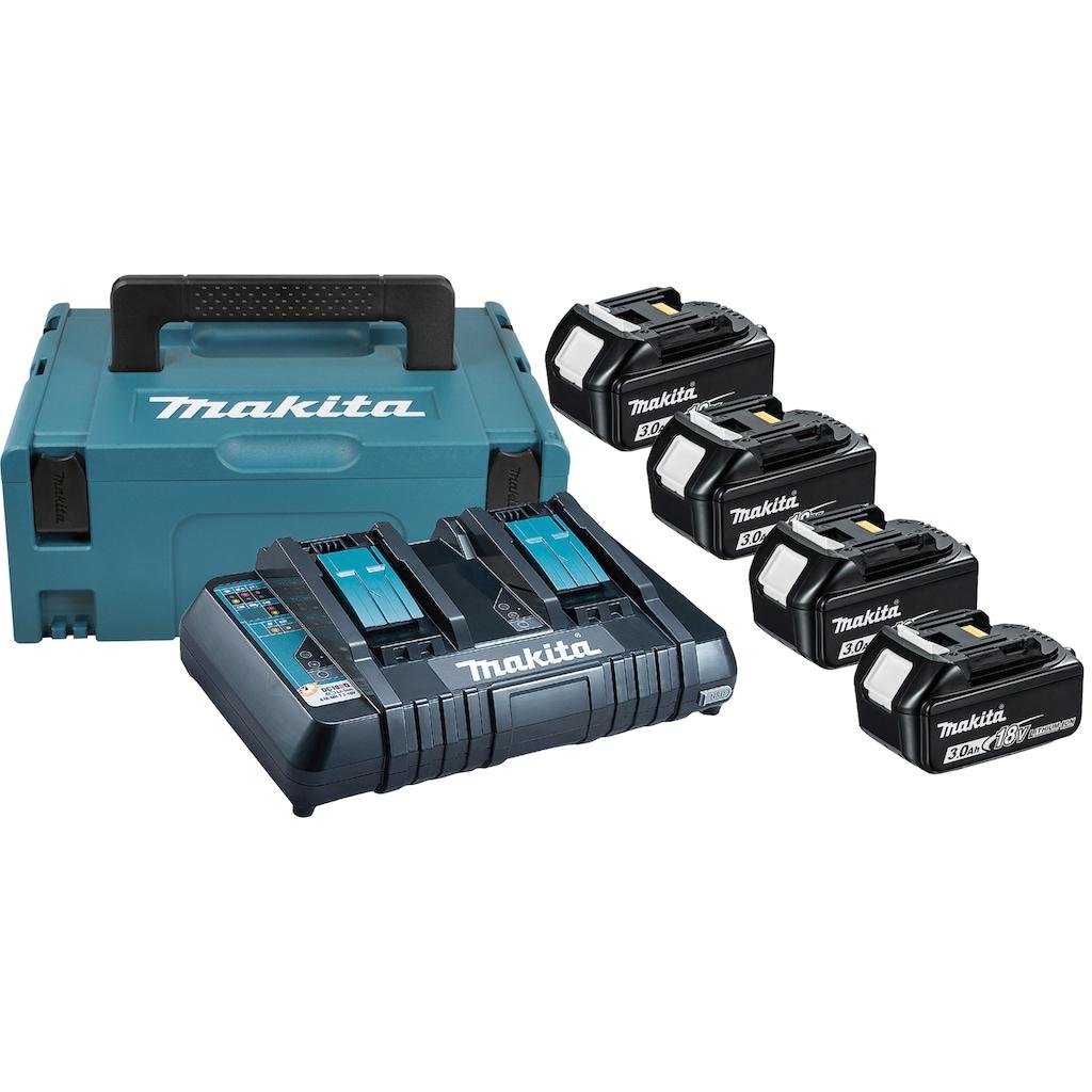 MAKITA Akku-Set »Power Source Kit«, 4 Akkus (18 V, 3 Ah) und Ladegerät