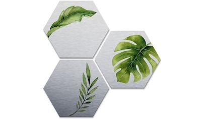 Wall-Art Mehrteilige Bilder »Silber Effekt Dschungel Set«, (Set, 3 St.) kaufen