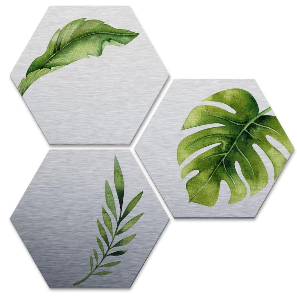 Wall-Art Mehrteilige Bilder »Silber Effekt Dschungel Set«, (Set, 3 St.)