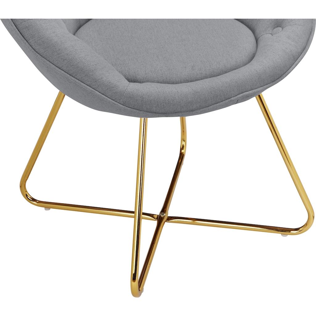Leonique Loungesessel »Darcie«, mit festmontiertem Sitzkissen, Metallgestell in Chrom Gold, in verschiedenen Farbvarianten enthältlich, Sitzhöhe 46 cm
