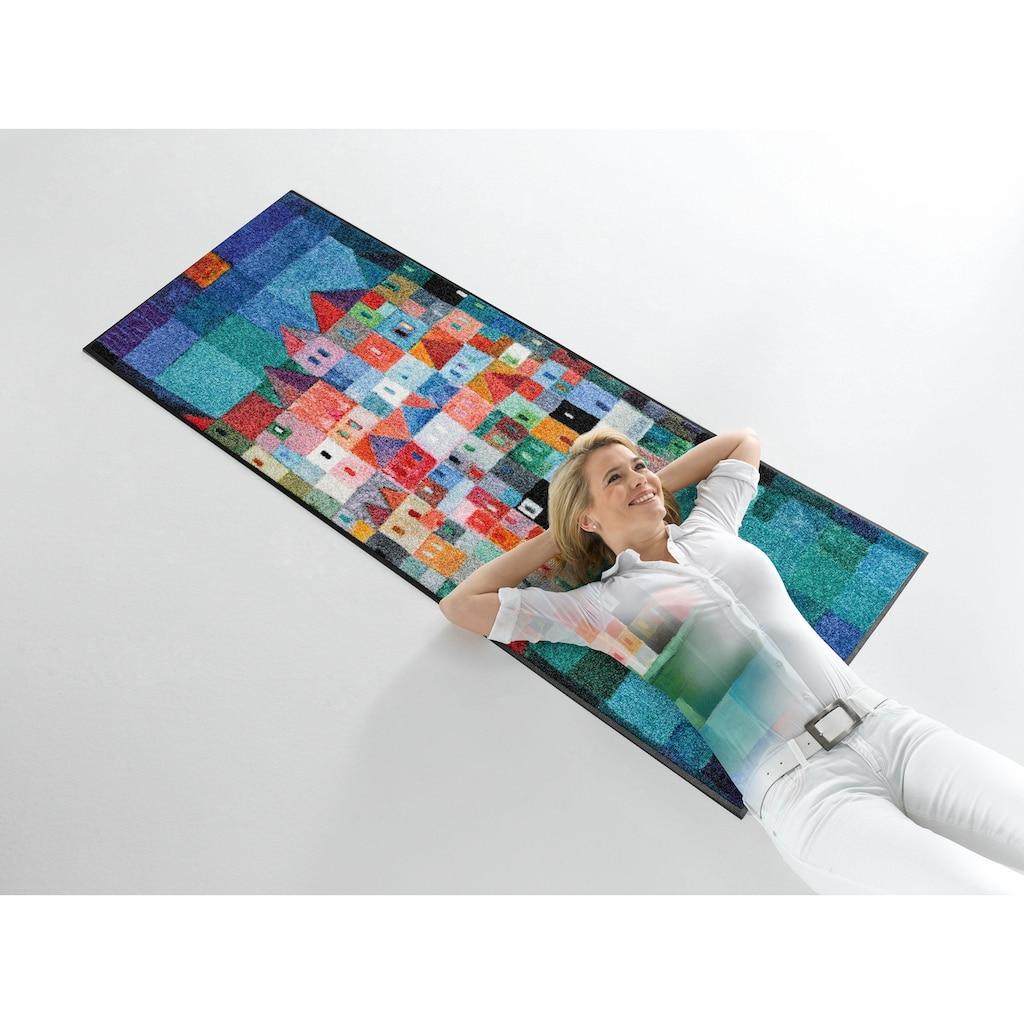 wash+dry by Kleen-Tex Läufer »Colourful Houses«, rechteckig, 7 mm Höhe, In- und Outdoor geeignet, waschbar