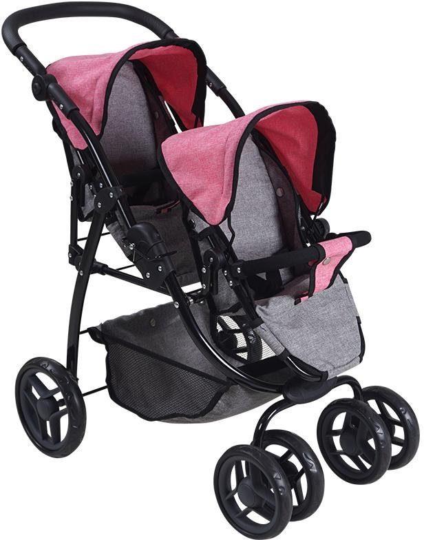 Knorrtoys Puppen-Zwillingsbuggy Milo - jeans grey rosa Kinder Puppenzubehör Puppen Puppenwagen