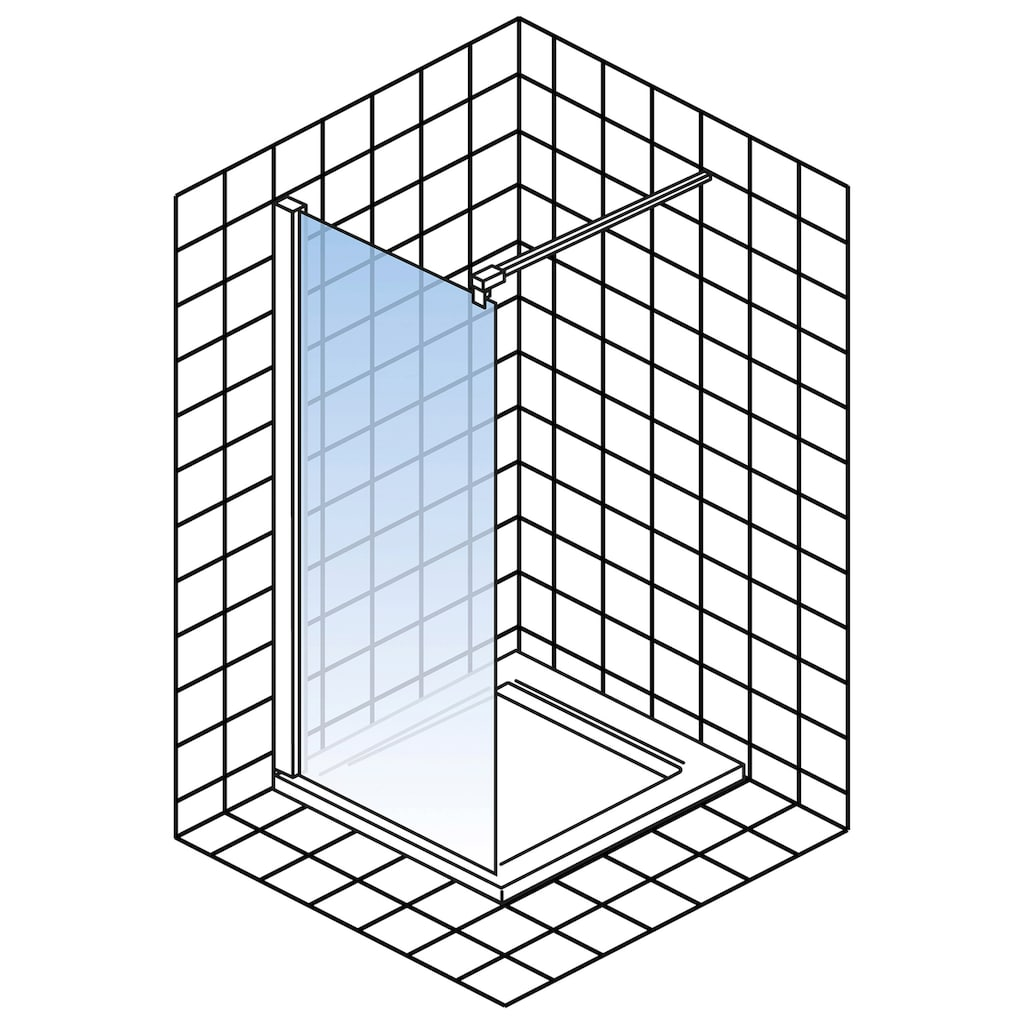 Schulte Duschwand »Alexa Style 2.0«, BxH: 100 x 200 cm, Black Style, Walk In