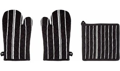 """stuco Topfhandschuhe """"Streifen"""", (Set, 3 - tlg., bestehend aus 2x Ofenhandschuh, 1x Küchengreifhilfe) kaufen"""