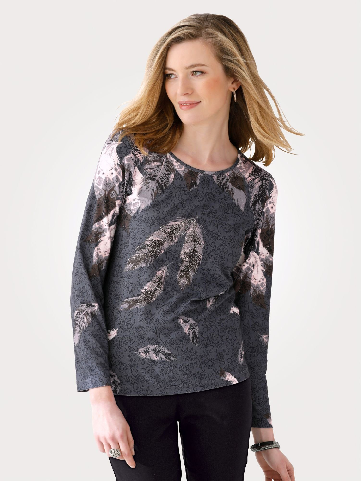 mona -  Shirt mit plaziertem Federdruck