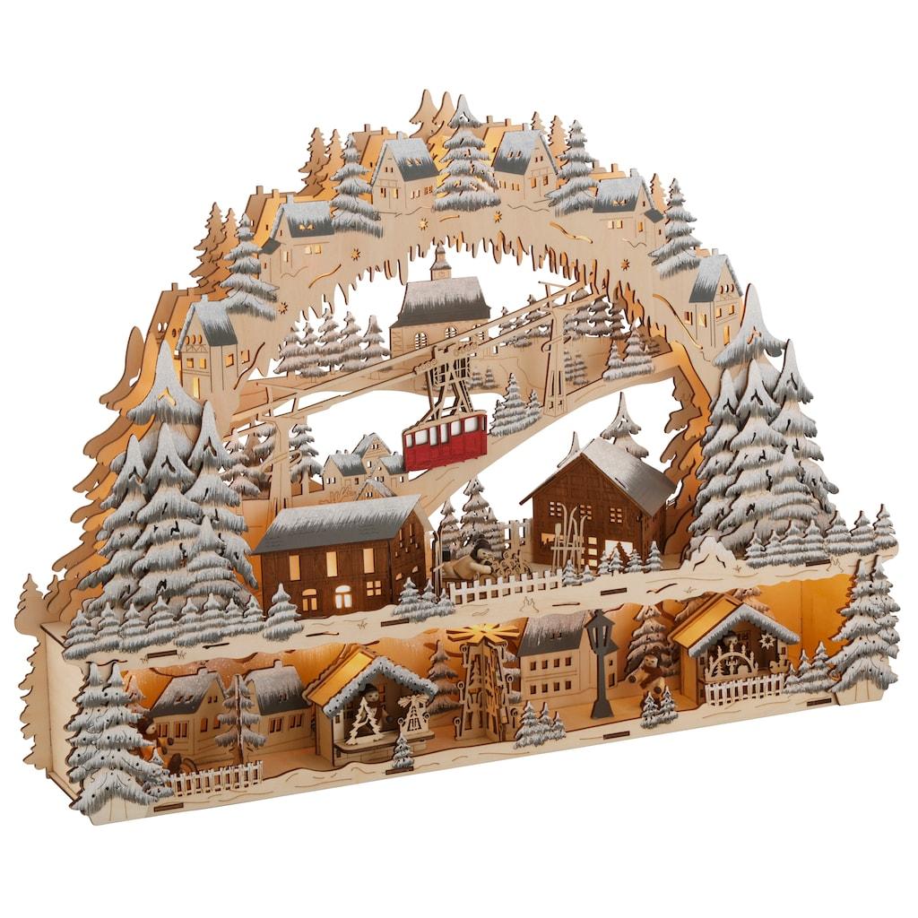 """Schwibbogen """"LED Weihnachtsleuchter mit Podest und Seilbahn, Skihütte und Weihnachsmarkt"""""""