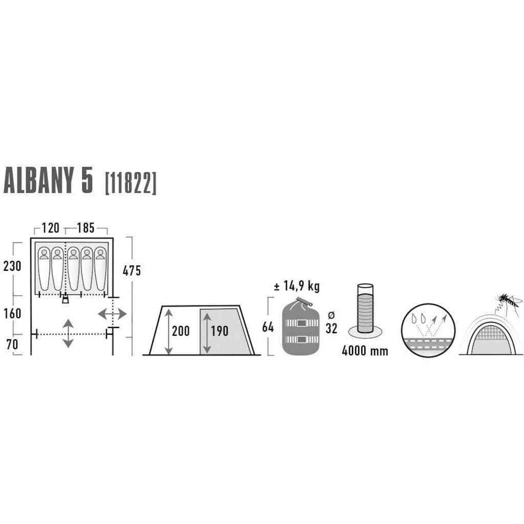 High Peak Tunnelzelt »Albany 5«, 5 Personen (mit Transporttasche)