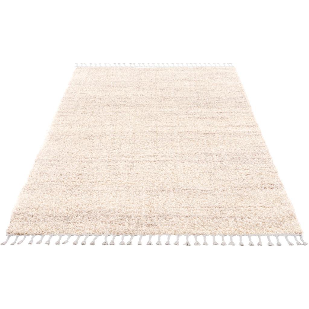 Carpet City Hochflor-Teppich »Pulpy 524«, rechteckig, 30 mm Höhe, mit Fransen, Wohnzimmer