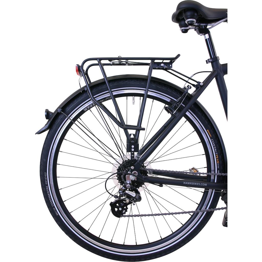 HAWK Bikes Trekkingrad »HAWK Trekking Gent Premium Black«, 24 Gang, Shimano, Altus Schaltwerk