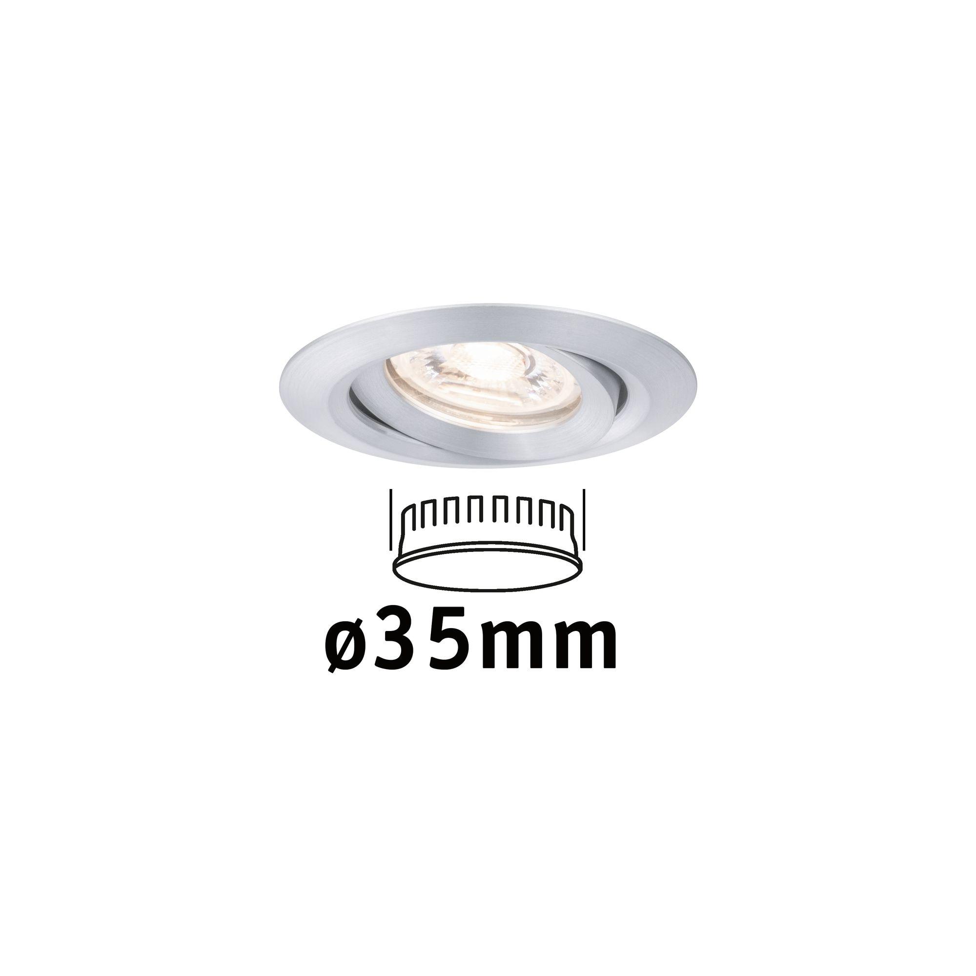 Paulmann LED Einbaustrahler Nova mini schwenkbar 1x4W 2.700K Alu gedreht 230V, 1 St., Warmweiß