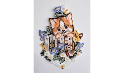 Stickereien Plauen Fensterbild »Katze am Zaun« kaufen