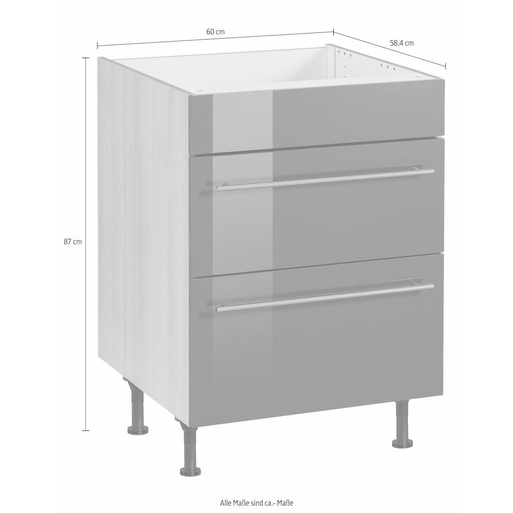 OPTIFIT Kochfeldumbauschrank »Bern«, 60 cm breit, mit 2 großen Auszügen, mit höhenverstellbaren Füßen, mit Metallgriffen