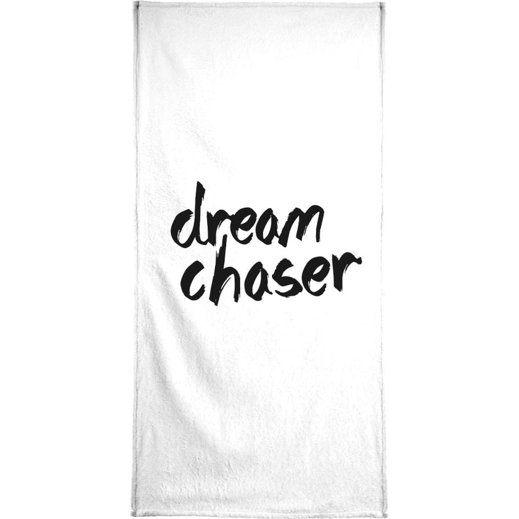 Juniqe Handtuch »Dream Chaser«, (1 St.), Weiche Frottee-Veloursqualität
