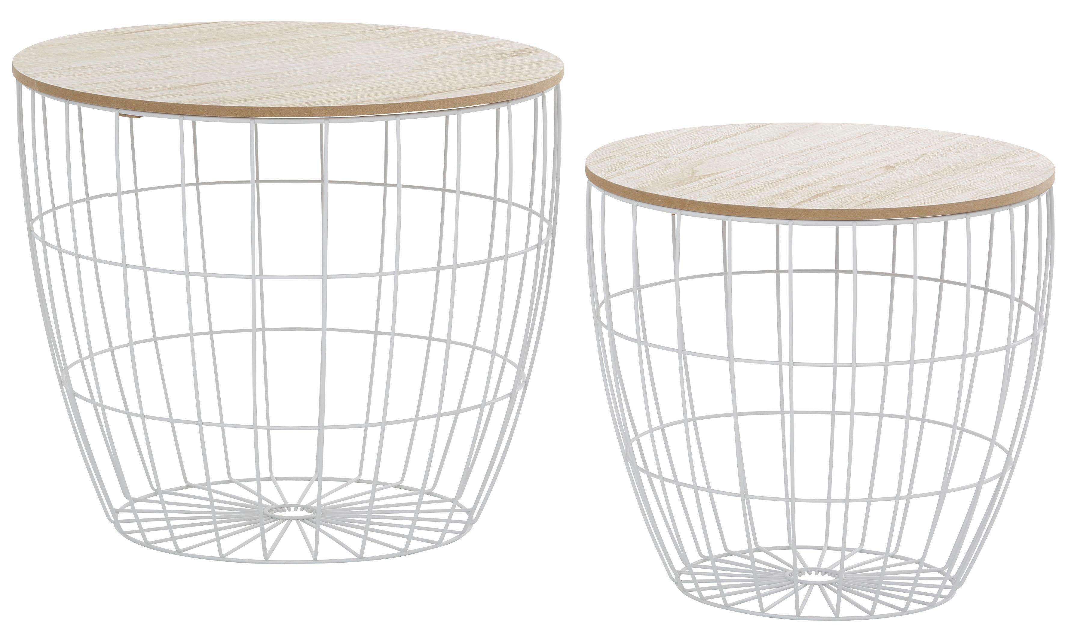 Beistelltisch, (Set, 2 St.), mit abnehmbarer Tischplatte weiß Beistelltische Tische Beistelltisch