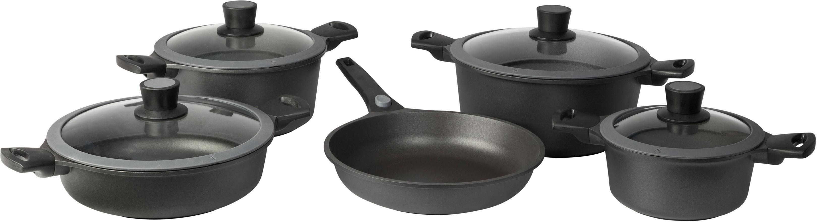 SKK Topf-Set Serie 6, Aluminiumguss, (Set, 9 tlg.), abnehmbarer Griff schwarz Topfsets Töpfe Haushaltswaren Topf
