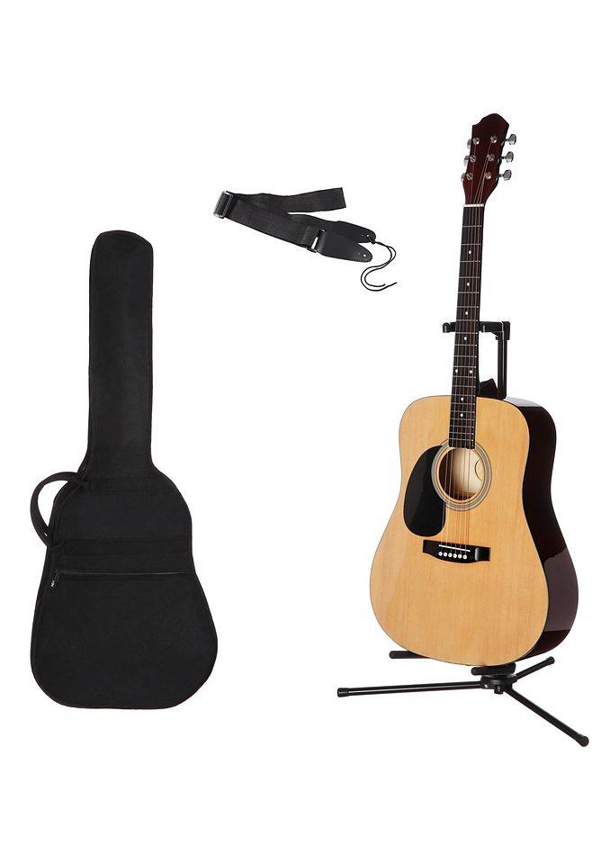 Gitarrenset Westerngitarre, 4/4, mit Tasche und Gitarrengurt beige Audio SOFORT LIEFERBARE Technik