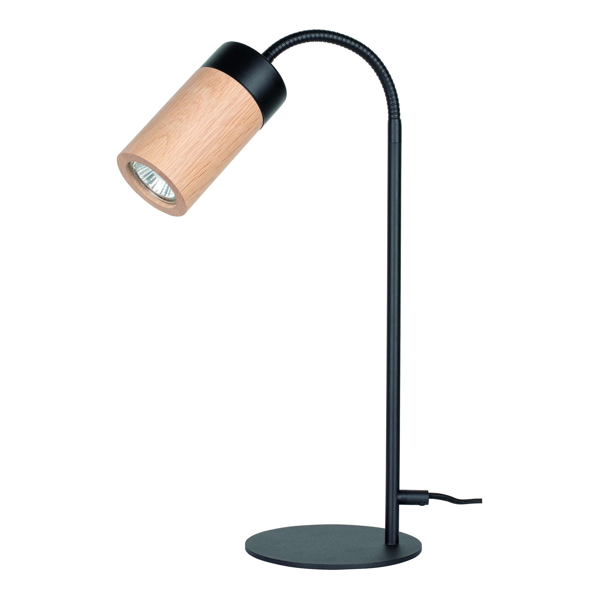 BRITOP LIGHTING Tischleuchte ANNICK, GU10, Warmweiß, Flexibeler Arm, LED-Leuchtmittel inkl., aus edlem Eichenholz und Metall, Made in Europe