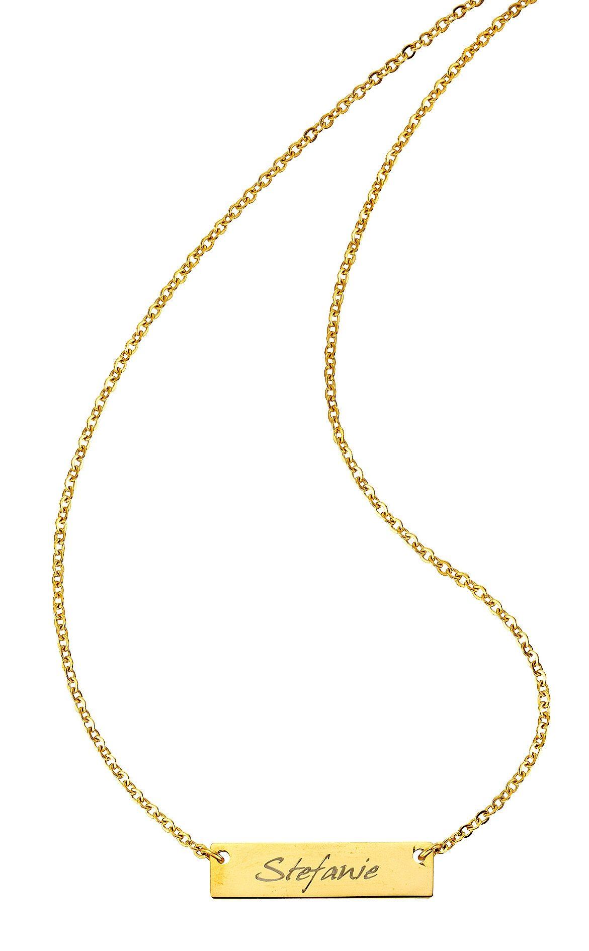 Firetti Namenskette mit ID-Platte für kostenlose Gravur | Schmuck > Halsketten > Namensketten | Goldfarben | Firetti